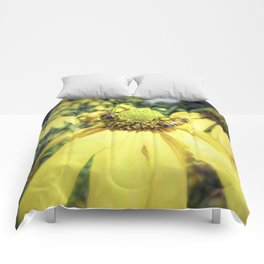 Bees on Yellow Flower Comforters