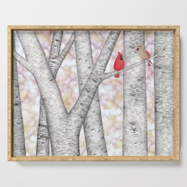 cardinals and birch trees Serving Tray