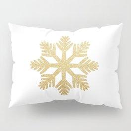 Gold Glitter Snowflake Pillow Sham