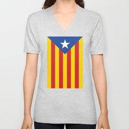 Estelada Blava - Senyeraestelada, HQ Banner version Unisex V-Neck