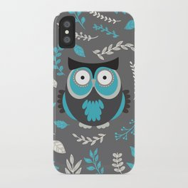BLUE OWL AND LEAVES iPhone Case