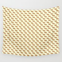 hot dog Wall Tapestries featuring Hot-Dog Pattern by Carlos Paboudjian