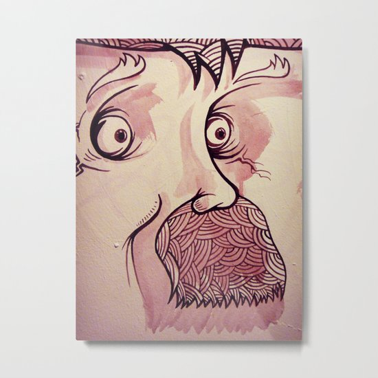 In Your Face Mr. Moustache Metal Print