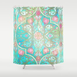 Floral Moroccan in Spring Pastels - Aqua, Pink, Mint & Peach Shower Curtain
