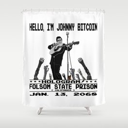 Johnny Bitcoin Shower Curtain