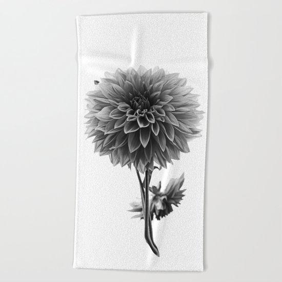 Dahlia - Monochrome Beach Towel