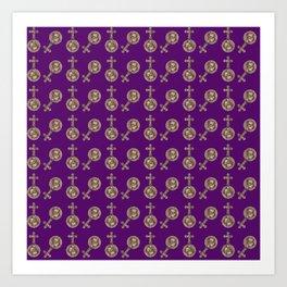 victorian crosses purple Art Print