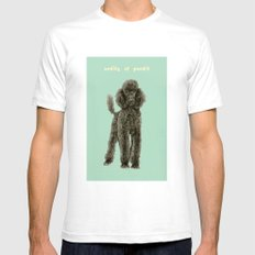 Poodle White Mens Fitted Tee SMALL