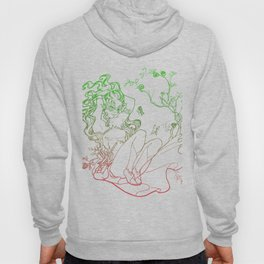 The Masked Fairy - leafy colors version - a masked fairy surrounded by butterflies and roses Hoody