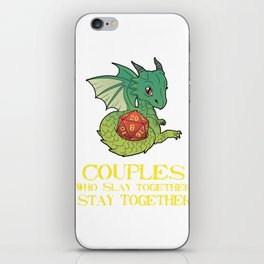 Funny Couples Tabletop Gaming graphic Dragons D20 Dice Tee Print iPhone Skin