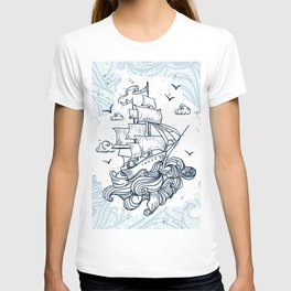 Hand drawn boat with waves background T-shirt