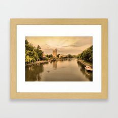sunset on the canal Framed Art Print