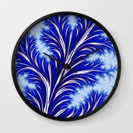 Abstract Blue Christmas Tree Branch with White Snowflakes Wall Clock