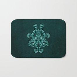 Intricate Teal Blue Octopus Bath Mat