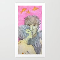 neil gaiman Art Prints featuring amanda palmer, neil gaiman, and some fish by nicemarmot