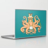 steam punk Laptop & iPad Skins featuring Steam Punk Octopus by J&C Creations