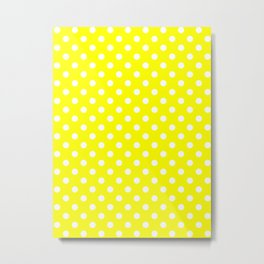 Small Polka Dots - White on Yellow Metal Print