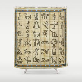 Ancient Egyptian Hieroglyphs on Papyrus Shower Curtain