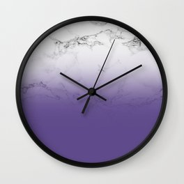 Modern white marble ultra violet purple ombre gradient Wall Clock