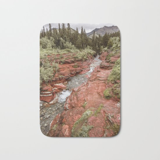 Landcape Red Rock Canyon Photography | Waterton Alberta Canada Bath Mat