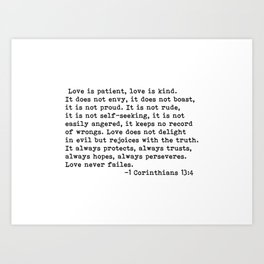 Love is patient... Art Print