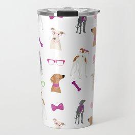 Sighthounds Pattern Pink Travel Mug