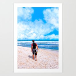 Surfer On The Beach At Playa del Carmen - Mexico Art Print