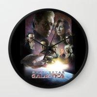 battlestar galactica Wall Clocks featuring BATTLESTAR GALACTICA POSTER by tanman1