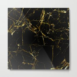 Golden Marble - Black and gold marble pattern, textured design Metal Print