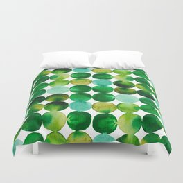 Green Watercolor Circles Pattern Duvet Cover