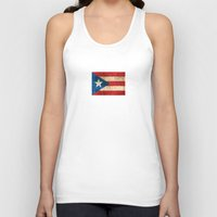 puerto rico Tank Tops featuring Vintage Aged and Scratched Puerto Rican Flag by Jeff Bartels
