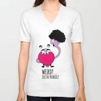 weird V-neck T-shirts featuring weird by Wildu