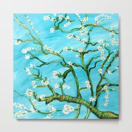 Almond Blossoms - Homage to Van Gogh Metal Print