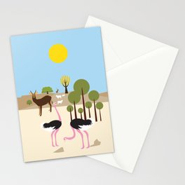 Ostriches in the desert Stationery Cards