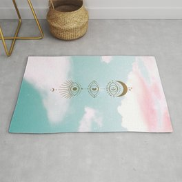 Gold Eyes Moon Phases Cloudy Rug