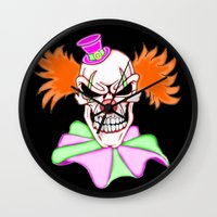 pennywise Wall Clocks featuring Demented Clown Skull by J&C Creations