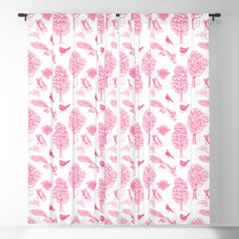 A Girl Reading in the Garden (White and Pink) Blackout Curtain