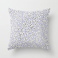 Silver & Periwinkle Berry Branches Throw Pillow