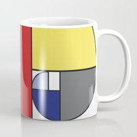 fibonacci Mugs featuring Mondrian vs Fibonacci by Psocy Shop