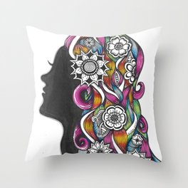 Zendoodle Flower Girl Profile Silhouette Throw Pillow