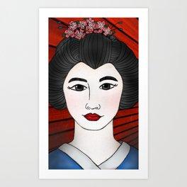 Geisha Red Art Print