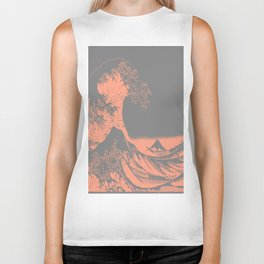 The Great Wave Peach & Gray Biker Tank