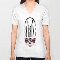 baseball V-neck T-shirts featuring BASEBALL  by Robleedesigns