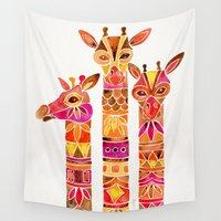 giraffes Wall Tapestries featuring Giraffes – Fiery Palette by Cat Coquillette