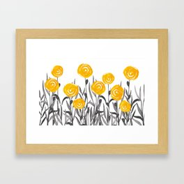 Fall Sunshine, Floral Print, Yellow and Gray Framed Art Print