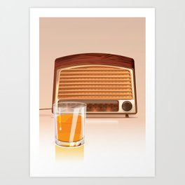 Radio & Whiskey Art Print