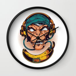 Monkey Music with headset trendy Wall Clock