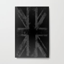 UK flag Vintage Gray Metal Print