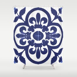 Talavera Classic Blue and White Flower Bud Shower Curtain