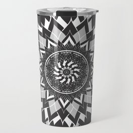 GREY, BLACK AND WHITE FLOWER OF LIFE Travel Mug